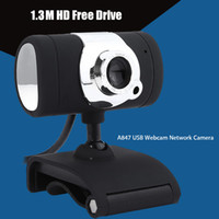 Wholesale Driver Usb Web Camera - HD Webcam Camera USB 2.0 50.0M Web Cam With CD Driver Microphone MIC For Computer PC Laptop A847 Black
