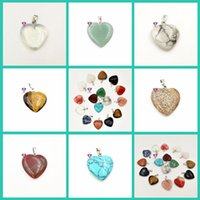 Wholesale natural sapphire free shipping - Hot sale Hot new turquoise stone pendants crystal peach heart natural stone necklace mix order 50 pieces a lot free shipping