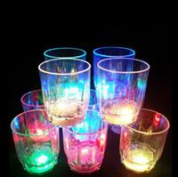 Wholesale Led Light Beer Mugs - Colorful LED Light Flashing Cup Beer bar Mug Drink Cup LED Champagne Plastic Beverage Wine Cups for Party Wedding Decoration ZA2246