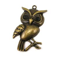 Wholesale large pendants connectors - 15pcs-Antique Bronze Tibetan Tone Silver Large Owls Charms Pendant Best Gifts Lovely Connector DIY Jewelry Making