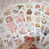 Wholesale Doll Mate - Wholesale- frocat Cartoon 6 sheets 1 set paper doll mate diary planner Stickers note sticker message sticker Decoration Label -PVC
