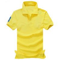 Wholesale Hot Pink Men S Shirts - 2017 new high quality Summer Hot Sale Polo Shirt USA American Flag Brand Polos Men Short Sleeve Sport Polo 309# Man Coat Drop Free Shipping