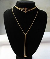 Wholesale Fashion Body Chain Necklace - Hot Punk Women's Multilayers Statement Necklace Triangle Chokers Necklaces 2pcs set Fashion Geometry Jewelry Body Chains High Quality F21