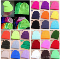 Wholesale Fluorescence Acrylic - Winter Warm Hats 27colors Women Men Unisex Knitted Wool Fluorescence Color Tabby hip hop hiphop skullies Beanies Hedging Hat