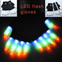 Wholesale White Kids Gloves - Rave Gloves Mitts Flashing Finger Lighting Glove LED Colorful 7 Colors Light Show Black and White 3011001