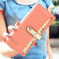 Wholesale Color Block Purses - Wholesale- 2016 New Women Wallets Color Block Dot Bow Women's Long Design Female Magic purse wallet women carteira portefeuille femme