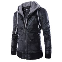 Wholesale Leather Mens Jacket Xl - Wholesale- Men Locomotive Leather Jackets Fashion Mens Hoodie PU Coat False two motorcycle leather Jaqueta De Couro Masculina Slim Leather
