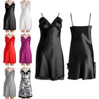 Wholesale Sexy Girls Nightgown - New Arrivals Women Girls Sleepwear Pajamas Intimates Nightdress Lingeries Acetate Fiber Imitated Silk Lace Sexy 6 Colors EB2 Free Shipping