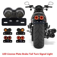 Wholesale chopper brake tail light - License Plate LED Brake Tail Turn Signal Light For Bobber Cafe Racer ATV Chopper