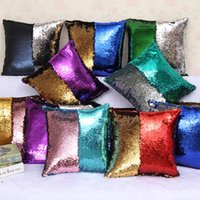 Wholesale Cushioned Car Covers - 2016 Sequin Pillow Case Sequin Pillowslip 2 Tone Color Pillow Case Reversible Cushion Cover Home Sofa Car Decor Mermaid Pillow Covers OTH315