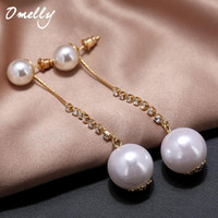 Wholesale Cheap Ear Pins - Gold Filled Crystal Classic Celebrity Pearl Stud Earrings Ear Studs Pin Women Party Wedding Jewelry Wholesale Cheap Price