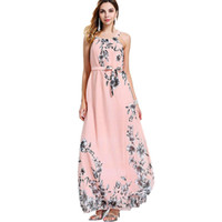 Wholesale yellow beach maxi dress - Sexy Summer Dresses Women Bohemia Print Chiffon Dress Floor Length Long Maxi Boho Beach Floral Sundress Vestidos Plus Size