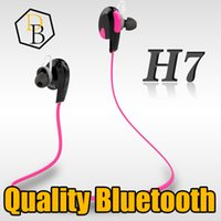 Wholesale Headphone Real - Bluetooth Earphone H7 Quality Real Stereo Sound Bluetooth 4.1 Ear Hook Head phone Wirless Handsfree Bluetooth Headset Iphone 7 Headphone