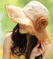 grandes cabezas de encaje al por mayor-Moda de encaje Sombrero de sol para mujer Verano Floppy Sombreros de playa Vacaciones ocasionales Viajes de ala ancha Sombreros para el sol Sombreros de playa plegables para mujeres con cabezas grandes