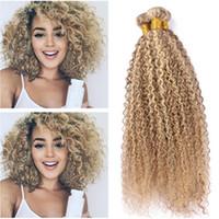 Wholesale 2tone hair weaves resale online - Piano Mixed Color Brazilian Virgin Human Hair Kinky Curly Piano Honey Blonde Highlight Blonde Tone Human Hair Weave Bundles