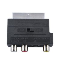 Wholesale Tv Scart Adapter - Wholesale-Hot Selling RGB Scart to Composite RCA S-Video AV TV Audio Adapter Converter For TV DVD VCR