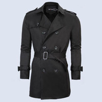Wholesale Cheap Male Trench Coats - Wholesale- Polyester Thin Male Black Cheap Trench Coat Men Long Jacket Burgundy Red Khaki Plus Size 4XL