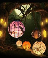 Lanternes À Papier Suspendu Pas Cher-4PCS / Set Halloween LED Papier Pumpkin Ghost Hanging Lantern Light Holiday Party cadeaux de beauté funney decoration