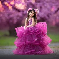 Wholesale Dress Kid Flora - Ball Gown Girls Pageant Gowns With Flora Appliques Tiered Ruffles Halter Flower Girl Dresses Children Organza Puffy Kids Party Dress