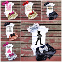 Wholesale Hair Style Child Girls - 7 Style Baby girl INS letters rompers suit Children Short sleeve triangle rompers+paillette shorts+bowknot Hair band 3pcs sets clothes B001