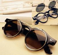 lunettes de soleil goth achat en gros de-200pcs 4 couleurs Steampunk Goth lunettes de soleil lunettes rondes en métal rétro cercle Flip Up UV400 lunettes R032