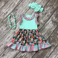 Wholesale new summer cotton design new baby girls kids boutique clothing dress sets mint floral ruffles with matching accessories set
