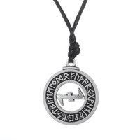 Wholesale Turkish Jewellery Wholesale - Wholesale- Dawapara Elder Futhark Runes Eihwaz And Naudhiz Combination Turkish Jewelry Norse Viking Pendant Necklace Men WICCA Jewellery
