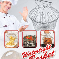 Wholesale Fry Baskets - Foldable Steam Rinse Strain Fry Chef Basket Strainer Net Kitchen Cooking Tool