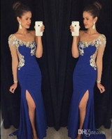 Wholesale One Shoulder Dress Transparent - One Shoulder Side Split 2017 New Arrival Sexy Mermaid Evening Dresses Crystal Transparent Formal Gowns Vestido de Festa Fashion