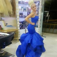 Wholesale Lady Like Sexy Evening Dress - Royal Blue Mermaid Evening Dresses Spaghetti Ruffles elegant Long Prom Dresses Vestido De Noiva Lady Formal Gowns