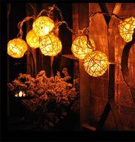 Wholesale cotton fairy string lights - 4.5m 20 Rattan Ball Led String Fairy Lights Christmas Tree Ornaments Xmas Decoration Warm White LED Lights Home Garden Decor 001