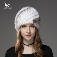 Wholesale Mink Hat Pineapple - Mosnow Fur Hats For Women Natural Mink Fur Pineapple Pattern Winter Casual Warm Vogue Knitted Hats For Girls Skullies Beanies