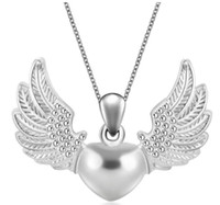 Wholesale Wholesale Angels Glass Wings - 2017 New fashion necklaces pendants silver color plated luxury Angel wings Alloy party women jewelry Best gift gg44
