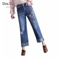 Wholesale Legging Pants Art - Wholesale- 2017 Vintage Art Stype Embroidery Holes Jeans For Women Spring Wide Leg Ankle-Length Denim Pants Loose Floral Embroided Jeans