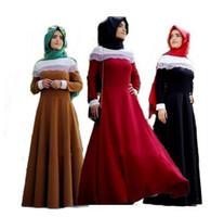 Wholesale Ethnic Costumes - Fashion Muslim Adult Female Summer Lace Stitching Abaya Prayer Dress Long Sleeve Dubai Style Arabian Robes Ethnic Costume