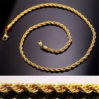 collar de cadena de oro real de 18k. al por mayor-Collar de cadena de cuerda de acero inoxidable 18K chapado en oro real para hombre Cadenas de oro regalo de joyería de moda