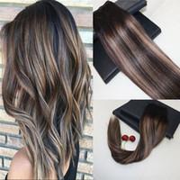 saç uzatmaları renk 27 toptan satış-Balayage renk # 2 solma # 27 Kâğıt Saç Atkı Uzantıları 100% Gerçek Remy Brezilyalı İnsan Saç Dokuma Slik Düz 8a Sınıf Saç Dokuma