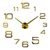 relojes de acrílico espejo al por mayor-Venta al por mayor-2016 nuevo acrílico reloj de pared reloj de cuarzo sala de estar moderno 3d pegatinas espejo reloj pared horloge grandes relojes decorativos