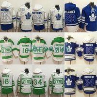 hoodie do jérsei do hóquei dos homens venda por atacado-Toronto Maple Leafs Hoodies Men 16 Jersey Mitchell Marner 29 William Nylander 34 Camisola Auston Matthews 100% Moletom Hockey Camisas