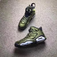 Wholesale Flight Jacket Sale - LIMITED SALE AIR RETRO 6 FLIGHT JACKET PINNACLE BASKETBALL SHOES SNEAKERS MEN NYLON ARMY GREEN TOP QUALITY WITH ORIGINAL BOX 2017 AH4614-303