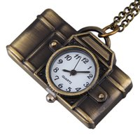 Wholesale Camera Watch Pendant - Wholesale- Vintage Cartoon Camera Shape Sweater Chain Pocket Watch Pendant Necklace Korean Style New Arrivals