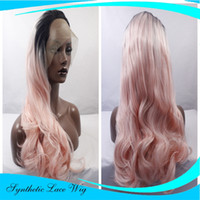 Wholesale Long Rose Pink Wig - High Temperature Fiber Hair Natural Hairline Glueless Long Wavy 1B Black Rose Pink Synthetic Lace Front Wig with Middle Part