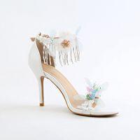 белая атласная обувь из горного хрусталя оптовых-Красивые Стразы Женщины Свадебные Туфли 9 см Каблук Сексуальные Белые Кружева Атласная Свадебная Обувь Женские Сандалии Bling Обувь Летний стиль