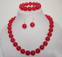 rubine halsketten-sets großhandel-freies Verschiffen reizend! 10mm roter Rubinhalskettenarmband-Ohrringsatz