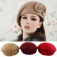Wholesale-Women's Beret geflochten Baggy Beanie Crochet Hat Airline Stewardess gestrickte Mützen