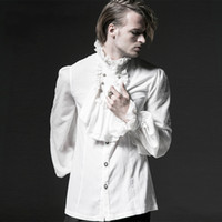 Wholesale Gothic Black White Blouse - Wholesale- Steampunk Gothic Men Lace Dress Shirt Victorian Gentlemen Party Prom Shirts Spring Autumn Black White Chiffon Blouses with Tie