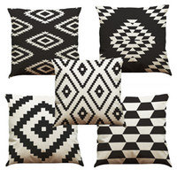 black white sofa cushion cover toptan satış-Siyah ve Beyaz Kafes Keten Minder Kapak Ev Ofis Kanepe Kare Yastık Kılıfı Dekoratif Yastık Takmadan Yastık Kılıfı Kapakları (18 * 18)