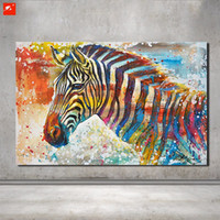 Wholesale Zebra Home Decor - Wildlife Wall Art Hand Painted Zebra Canvas Oil Painting On printing Home Decor Picture For Bedroom