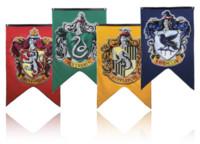 Wholesale harry potter decor resale online - DHL cm Harry Potter Gryffindor Hufflepuff Slytherin Ravenclaw Flag Hogwarts College Flag Home Decor Polyester Banner