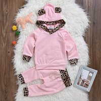 Wholesale Leopard Print Long Sleeve Baby - Baby Girls Leopard Print Clothing Set Hoodies Pants Kids Outfit Toddler Tracksuit Newborn Cotton Long Sleeve Children Costume Clothes